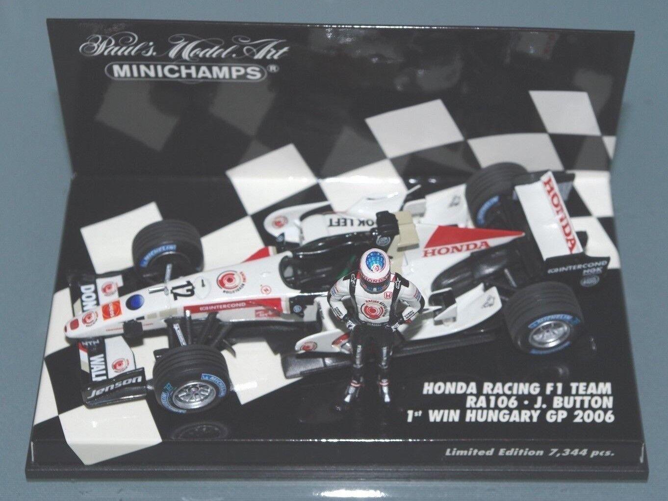 Minichamps F1 1 43 HONDA RACING RA106 JENSON BUTTON 1st WIN HUNGARY GP 2006