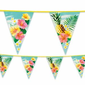 6-m-plastique-Bunting-Garland-FANION-DRAPEAU-Hawaiian-Paradise-Summer-Garden-Party