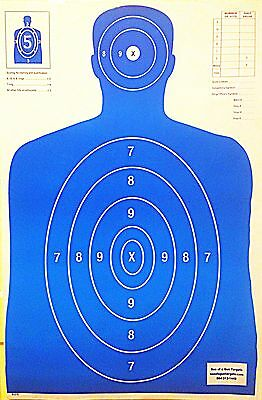 Paper Shooting Targets Blue Silhouette Gun Pistol Rifle B-27 Qty:50 23x35