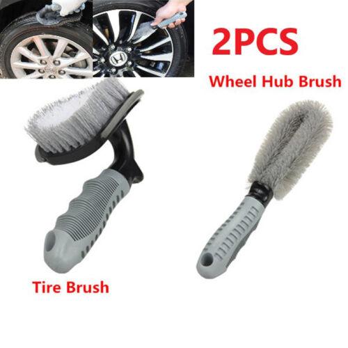 Cleaning Brush Set 2* Car Motorcycle Wheel Tire Rim Hub Thorough Clean Portable