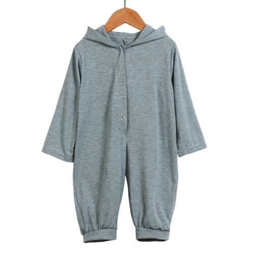 Newborn Infant Baby Boy Girl Hooded Romper Long Sleeve Jumpsuit Playsuit Outfits
