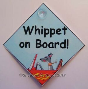 Whippet-dog-art-sign-on-board-car-laminated-from-painting-by-Suzanne-Le-Good