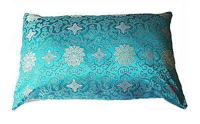 Silk Pillow cases blue turquoise chinese lucky cloud-28x19 inch one pair A (a30)
