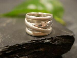 Wundervoller-925-Silber-Ring-Breit-Matt-Glaenzend-Breit-Straenge-Sterling-Elegant