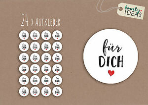 24-x-Geschenkaufkleber-034-Fuer-Dich-034-40mm-weiss-Etiketten-Aufkleber-Sticker
