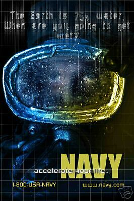 Navy SEAL DIVER Dive Mask Recruiting Poster Photo 8x12