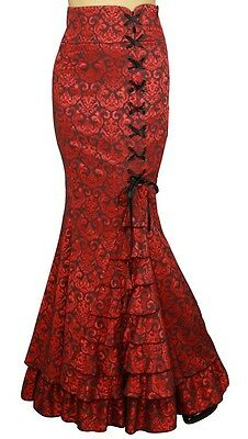 MERMAID JACQUARD FISHTAIL LONG CORSET GOTHIC VICTORIAN RED SKIRT STEAMPUNK