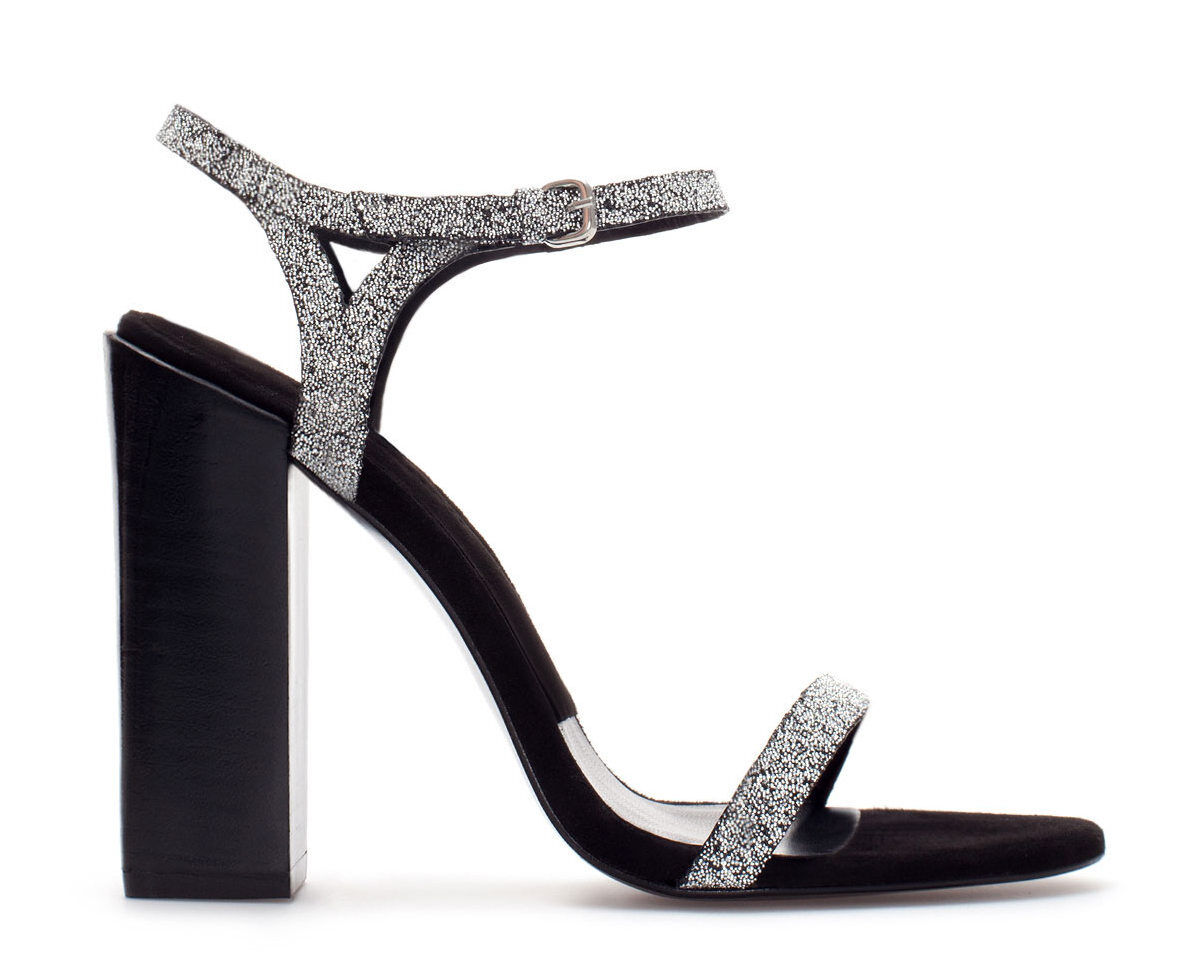 ZARA Damenschuhe BLACK SILVER SWAROVSKI CRYSTAL 6 ELEMENTS PARTY SANDAL HEELS 6 CRYSTAL 39 4948c9