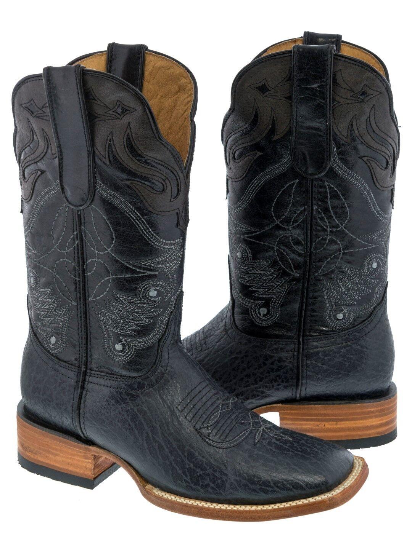 Para hombres cuero genuino Diseño de superposición gris botas De Vaquero Puntera Cuadrada Oeste Rodeo