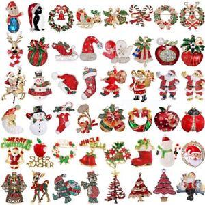 Fashion-Red-Crystal-Christmas-Snowman-Brooch-Pin-Collar-Womens-Jewellery-Xmas