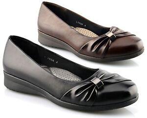 Femme Plat Chaussures Tribunaux Ultra Rembourré Confort Ceinture Vamp Talon Compensé Taille-afficher Le Titre D'origine éLéGant En Odeur