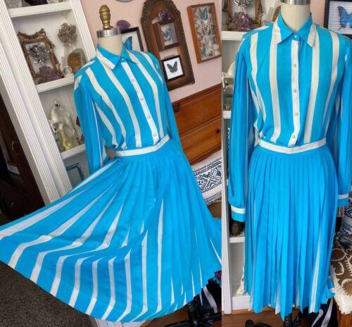 VTG David Hayes Silk Pleated Skirt Blouse Set Desi