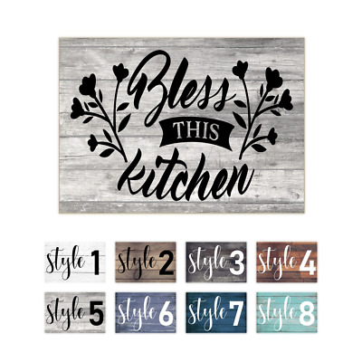 Bless This Kitchen Rustic Wall Art Wood Print Sign Decor A5 Ebay