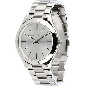 New michael kors stainless steel silver mk3178 womens slim runway image is loading new michael kors stainless steel silver mk3178 women gumiabroncs Choice Image