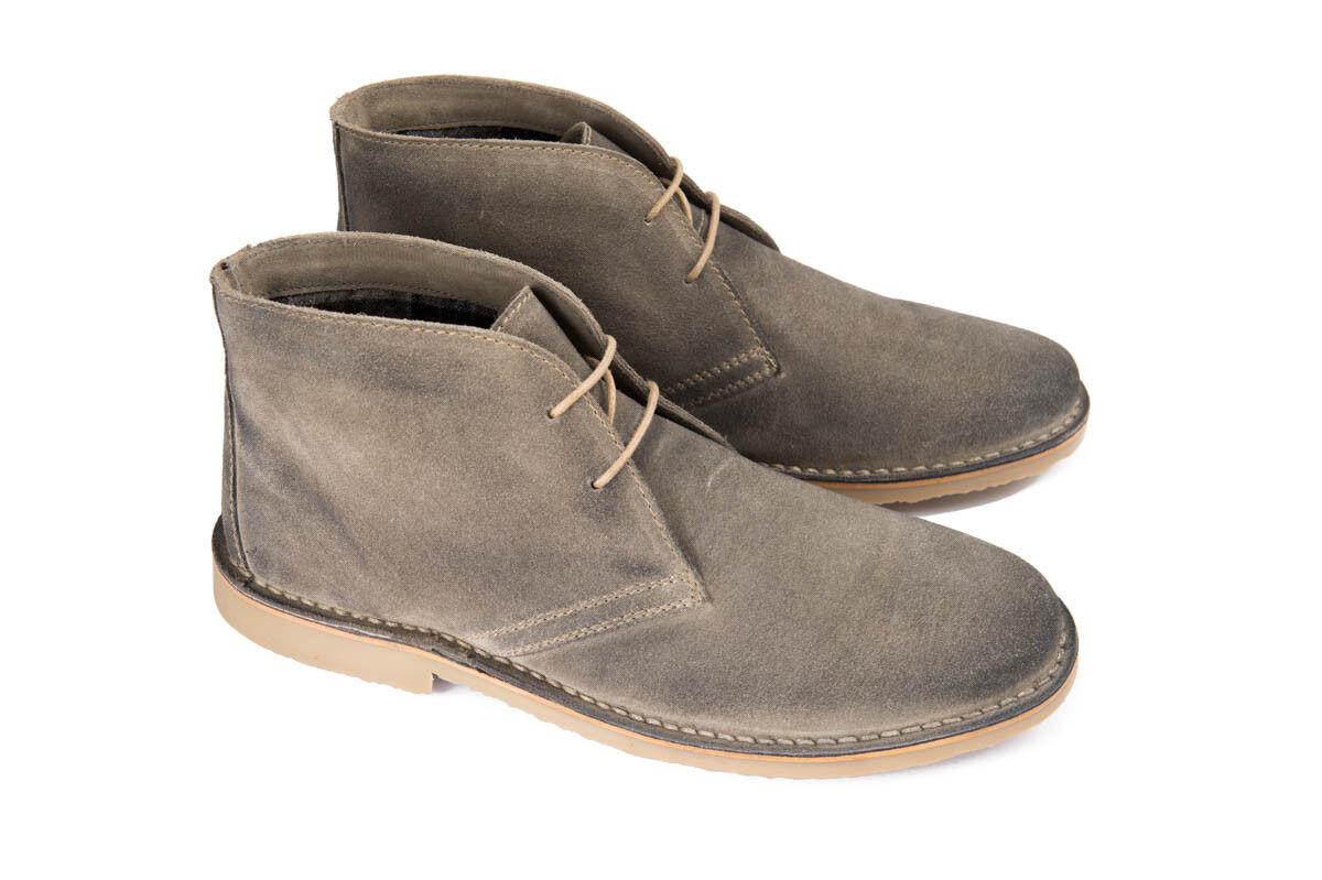 Ikon CANYON Da Uomo Grigio Camoscio Scarpe Desert Boots alla Caviglia Scarpe Camoscio Con Lacci 60s Rock f56f5a