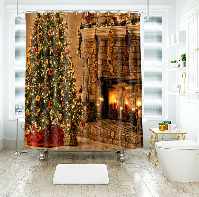 3D Natale Xmas 50 Tenda da doccia IMPERMEABILE Fibra Bagno WC finestra di casa
