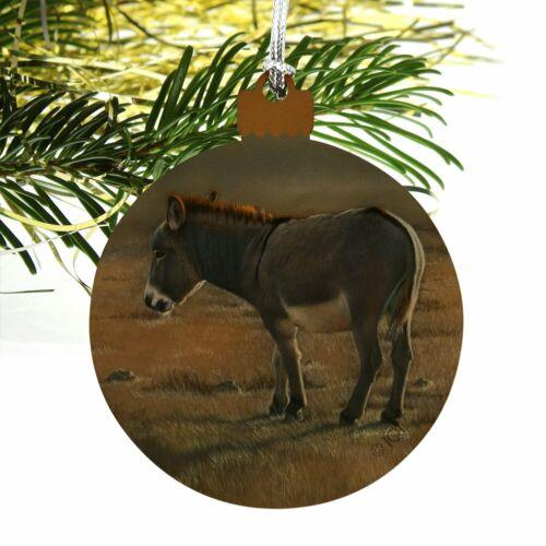 Burro Small Donkey Wood Christmas Tree Holiday Ornament