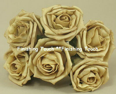 ARTIFICIAL 5cm GOLD x 6  Foam roses Wedding Bouquet Bridesmaids Button Hole