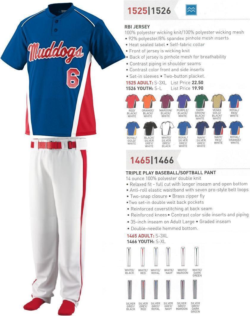 16 Baseball Softball Team Jersey Uniforms AUG 1525U Wholesale  54 kit Save  288