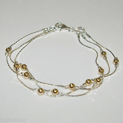 Anklets 3 Pcs Sterling Silver 925 Chain & Gold Filled Beads 3 Strands Two Tone Anklets