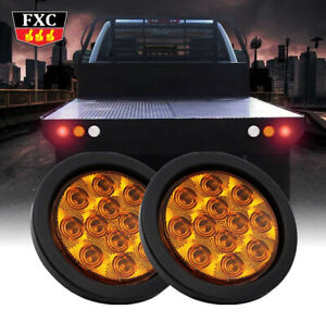 2x-4-034-Round-12LED-Yellow-Lens-Amber-Turn-Signal-Tail-Light-12V-Truck-Trailer-Bus
