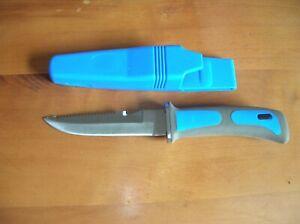 Tauchermesser mit Sägerücken und Cutter,Bein-Gummi, BLAU