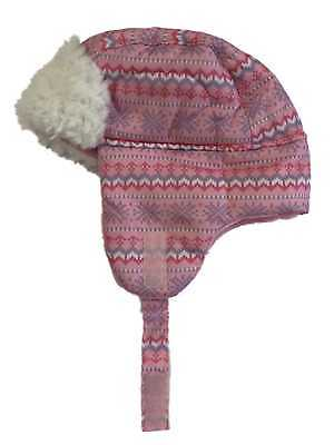Faded Glory Toddler Girls Pink Poodle Trapper Hat Beanie Faur Fur Stocking Cap