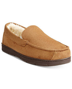 CLUB ROOM Men BROWN MOCCASINS MEMORY FOAM SLIP ON SLIPPERS US SHOE 11-12 XL