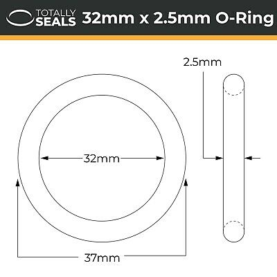 Nitrile Rubber O-Rings 70A Shore Hardness Pack of 10 39mm OD 32mm x 3.5mm