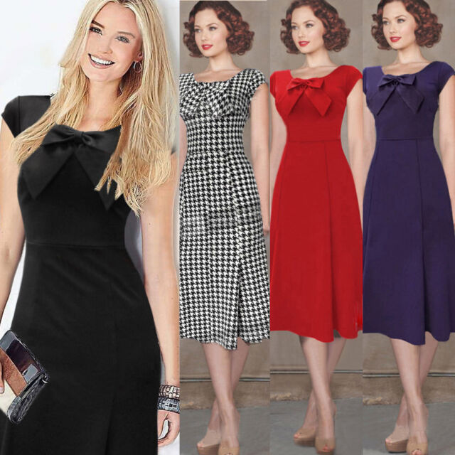 Womens Vintage Bow Tunic Business Party Cocktail Slim Bodycon Swing Midi Dresses