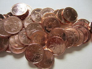 Roll of 1964 Canada Small Cents UNC RED 50 Coins