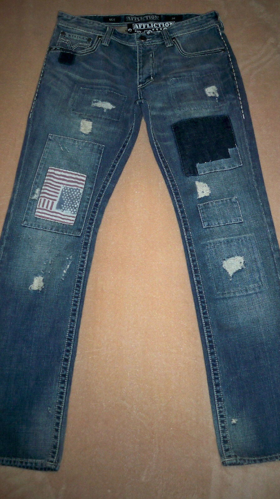 AFFLICTION Patched Jeans ACE SIERRA MISFIT blueE 33   34 x 33 Mens Orig.+