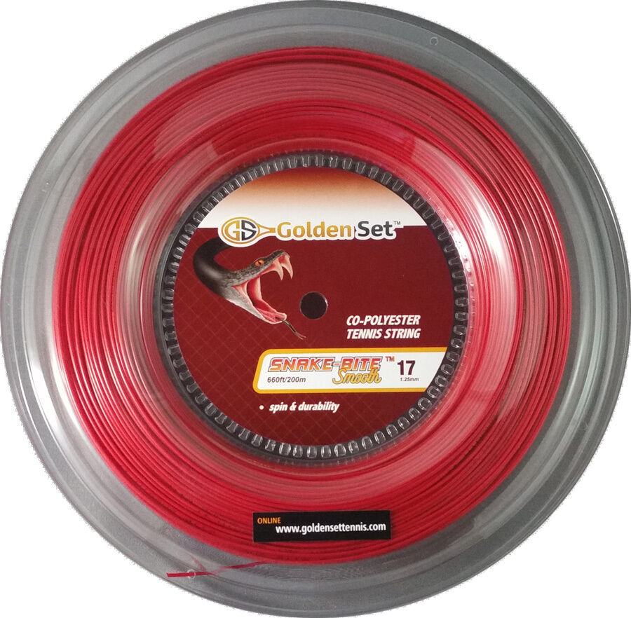 GSI Snake-Bite Smooth 17 rosso tennis string - 660ft Reel