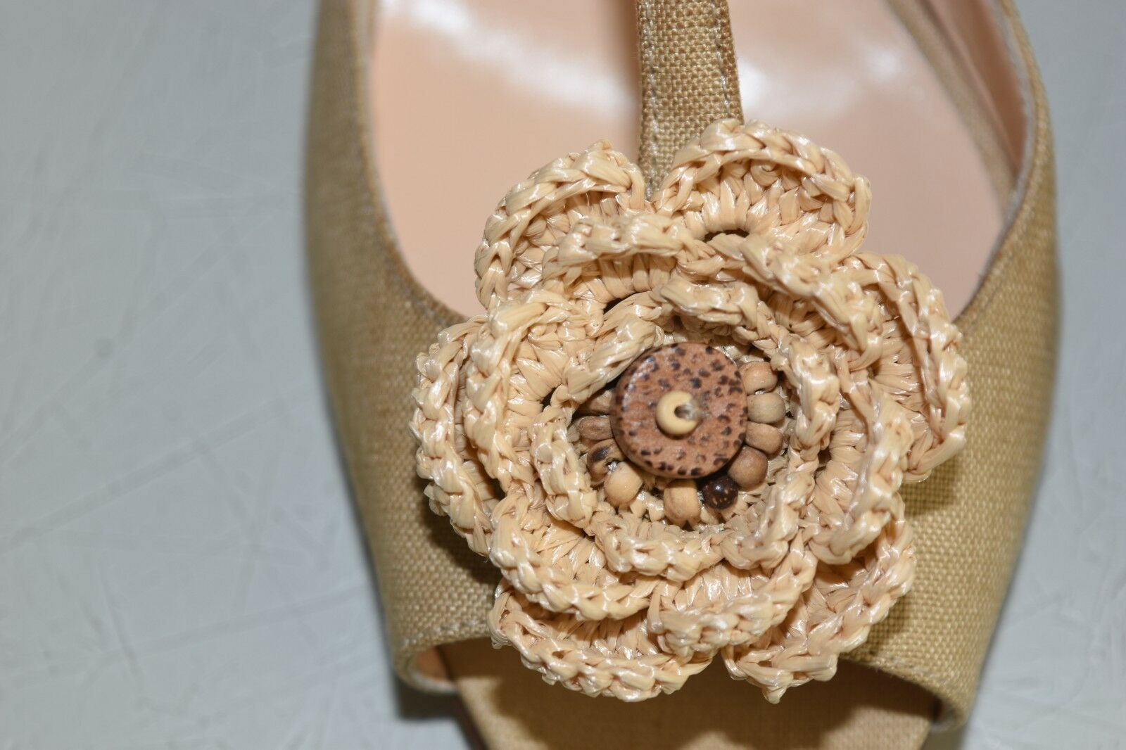 New Manolo Blahnik Thong T strap Sandals Sandals Sandals Heels Natural Beige Nude Linen chaussures 37 0a2745