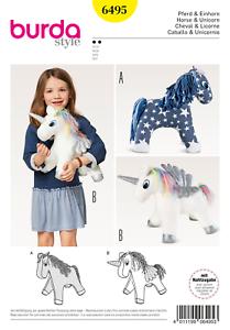 Patrón de costura burda Blanda Juguete 6495 de caballo//unicornio
