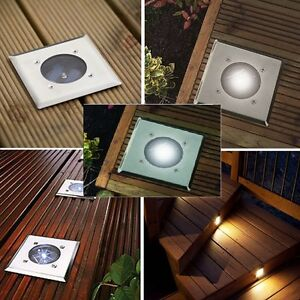 Bright white led solar powered garden decking deck lights pathway image is loading bright white led solar powered garden decking deck aloadofball Choice Image