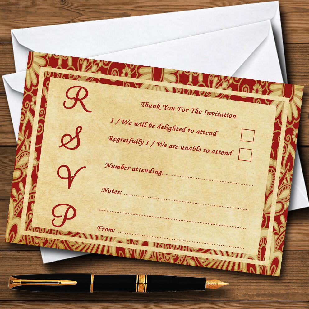 Vintage Royal rot Postcard Style Personalised RSVP Cards