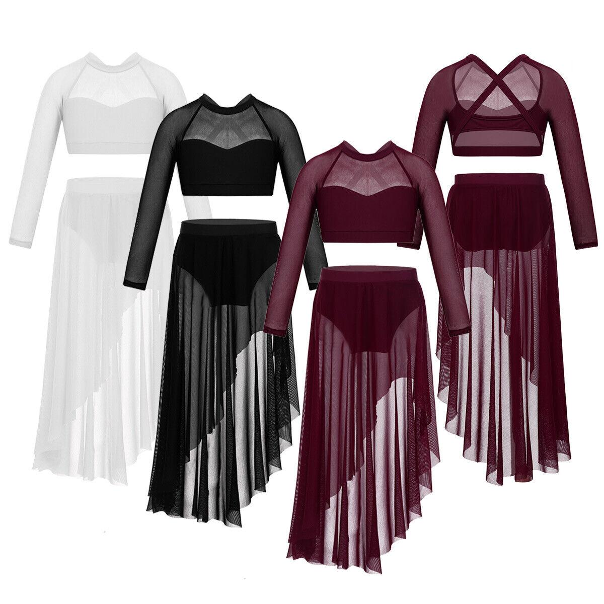 Kids Girls Lyrical Dance Dress Camisole Leotard Ballroom Dancing Outfits Costume