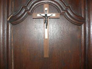 rarität altes Eichenholz Kreuz leuchtet im dunkeln Christus Messing Bronze