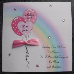 Image Is Loading HANDMADE PERSONALISED BIRTHDAY IN HEAVEN CARD RAINBOW Amp