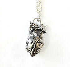 Anatomical heart shaped pendant necklace 18 inch chain emo gothic
