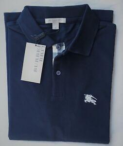 Burberry-Brit-Men-039-s-Check-Placket-Polo-Shirt-Dark-Navy