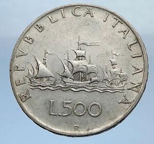 1959-ITALY-CHRISTOPHER-COLUMBUS-DISCOVER-America-SILVER-Italian-Coin-i69864