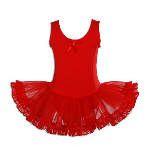 NEUF-rouge-De-Filles-Danse-classique-BALLET-TUTU-robe-5-6-an