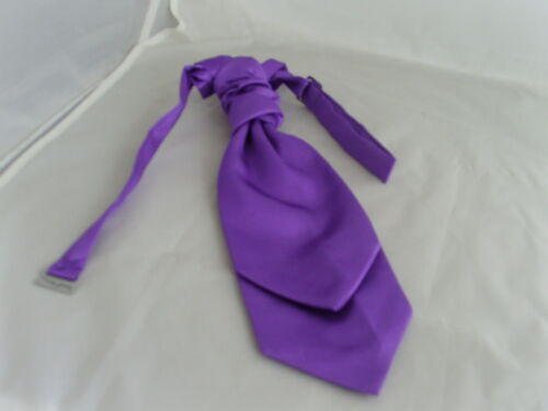 CADBURY Purple Double Drop BOYS Polyester Ruche Wedding Tie-Cravat and Hanky Set