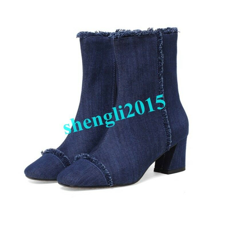 Womens High Top Denim Shoes Jeans Block Chunky Heel Chic Round Toe Ankle Boots