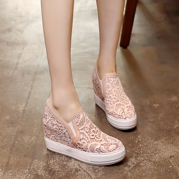 Women Wedge High Heels Breathable Platform Loafers shoes Creepers Sneakers Comfy