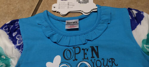 Graphic  Anna Frozen L//S Turquoise Ruffle Bows Open Your Heart Tee SZ 18//24M-5//6