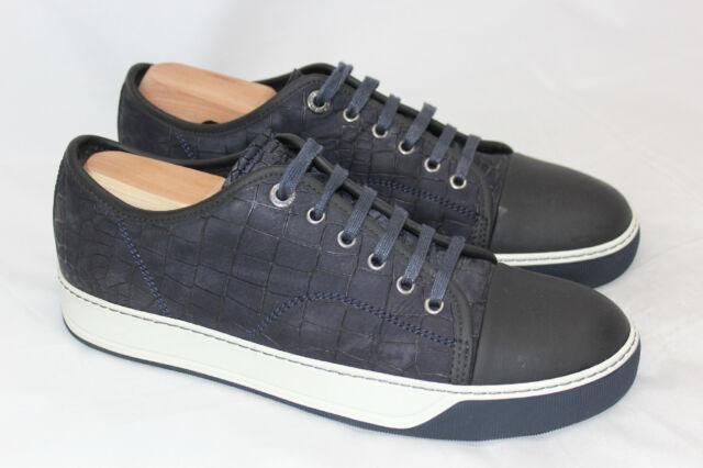 eecb2e73bc28 Lanvin Croc Embossed Nubuck Low Top Sneaker Cap Toe 7US  6UK Dark Navy Blue  (