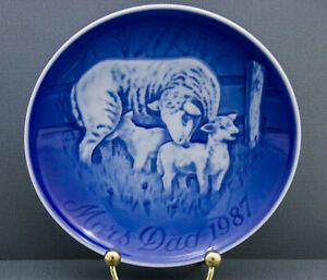 Bing-and-Grondahl-B-amp-G-Mother-039-s-Day-Plate-1987-Sheep-With-Lambs